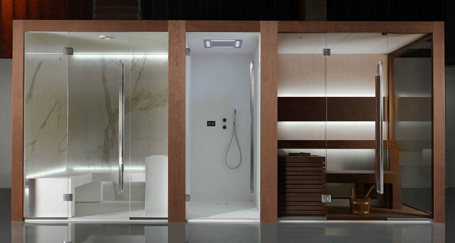 Centrum wellness: łaźnia parowa, kabina prysznicowa i sauna